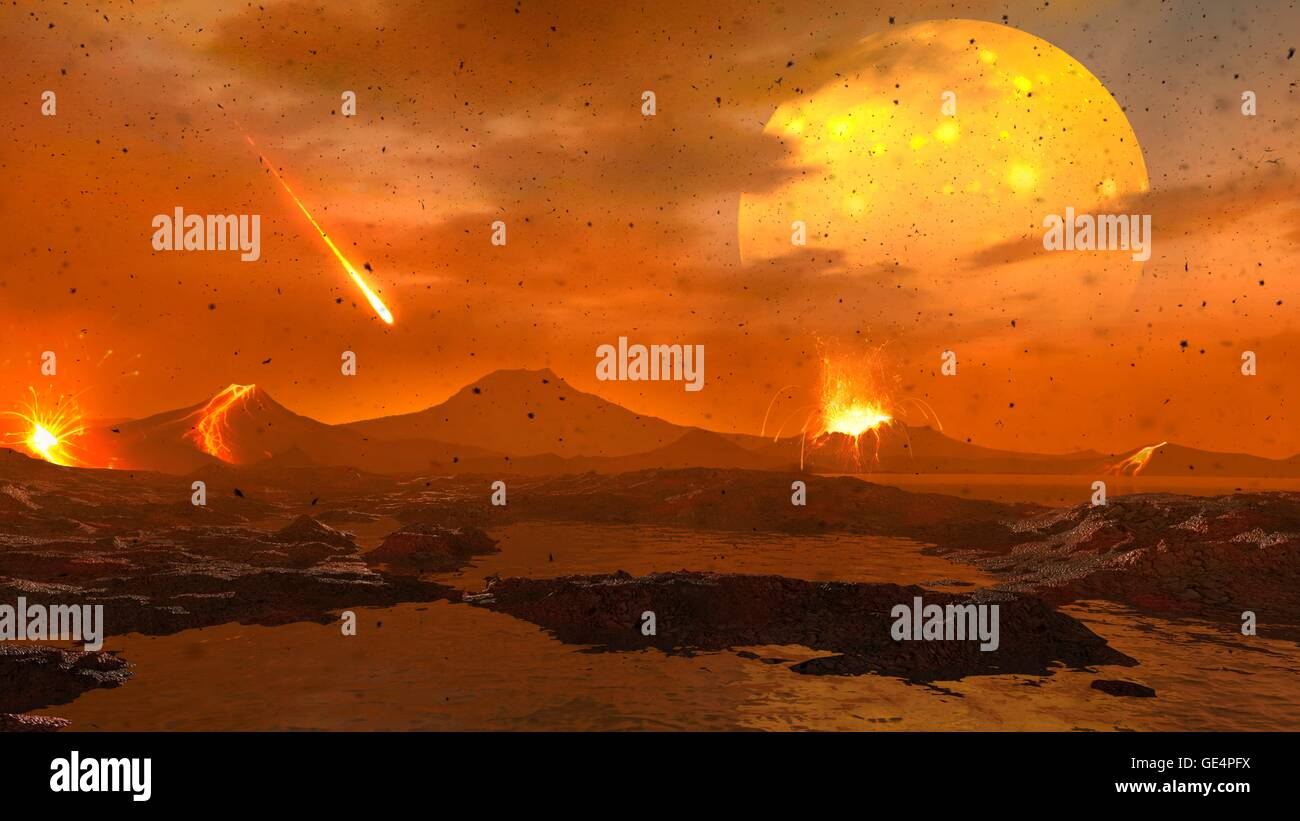 An animation of the primitive Earth in the process of formation, more than four billion years ago. We view the newborn - Stock Image