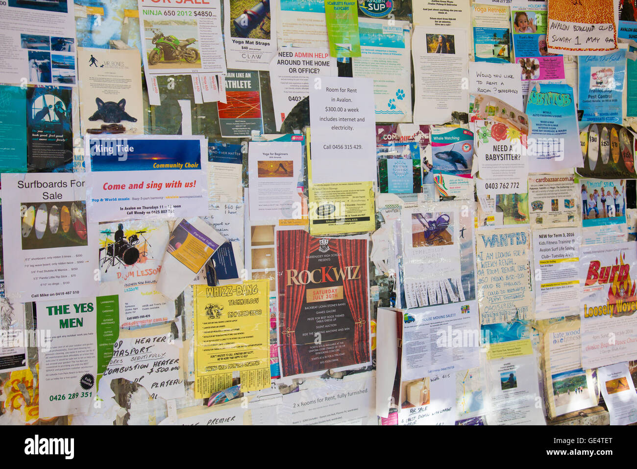 community noticeboard in Sydney with advertisements for services and sale items,australia - Stock Image