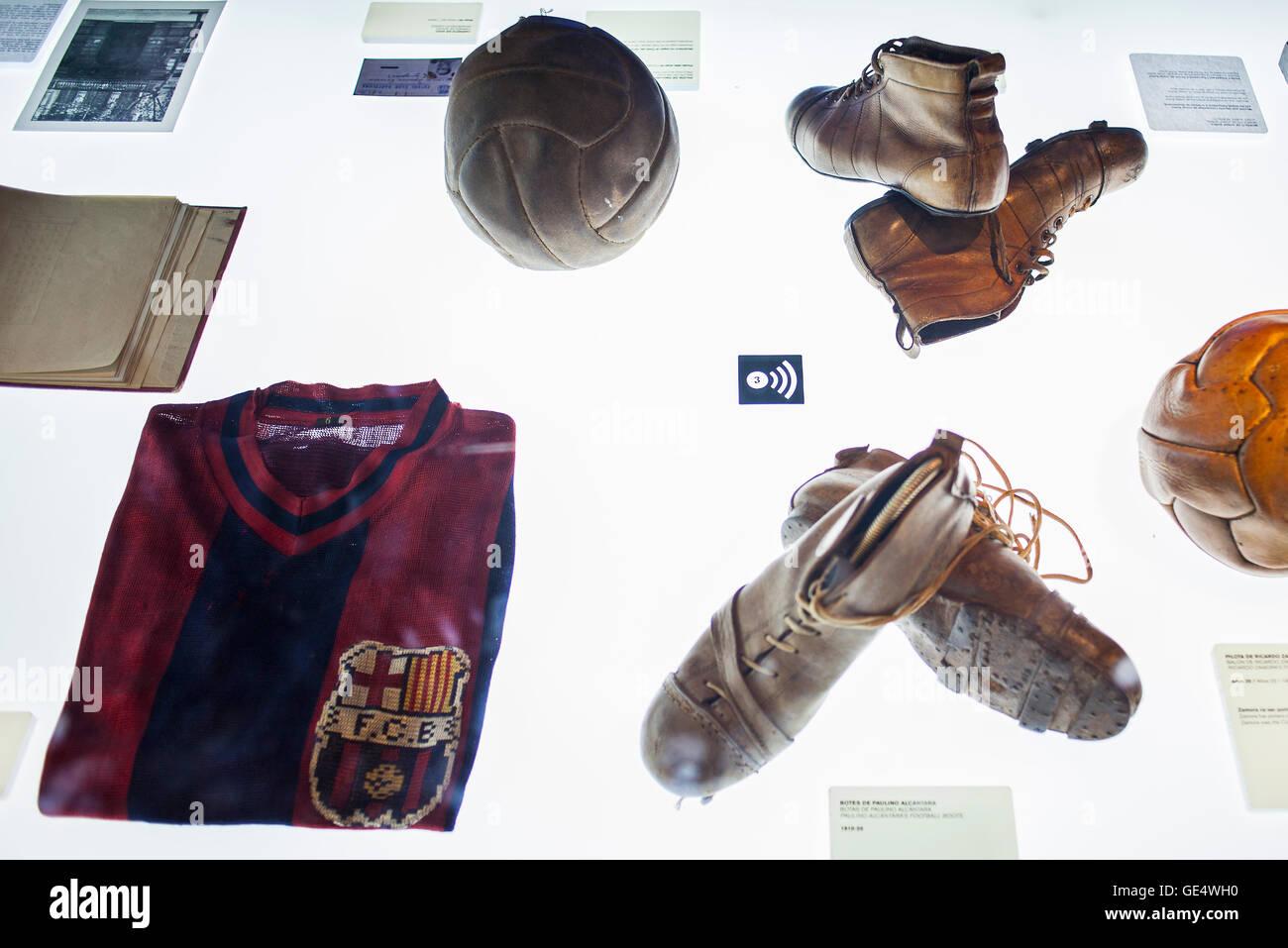 Museu FC Barcelona, FC Barcelona Museum, Nou Camp, Barcelona, Catalonia, Spain. - Stock Image