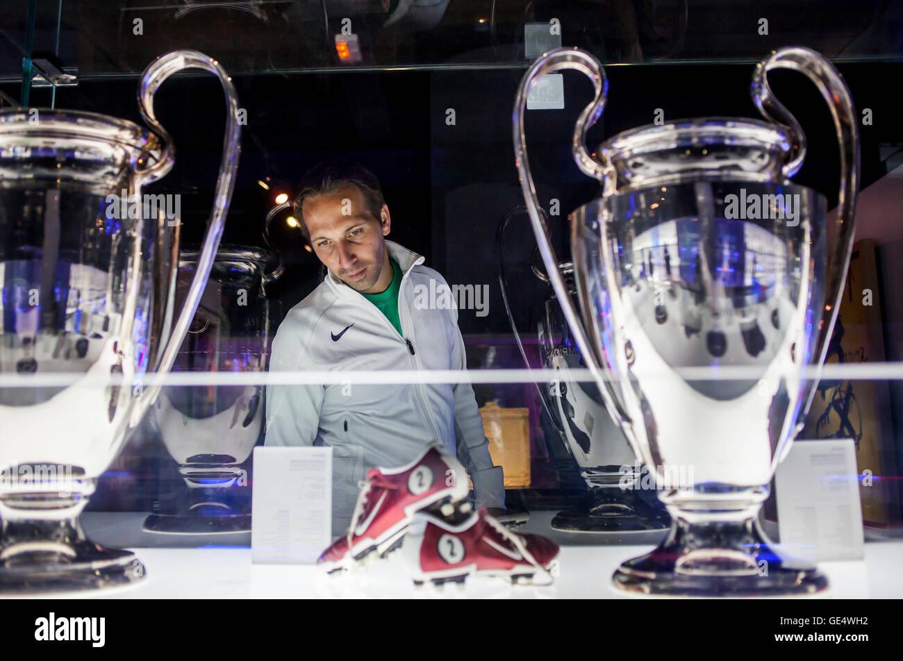 European Cups, Museu FC Barcelona, FC Barcelona Museum, Nou Camp, Barcelona, Catalonia, Spain. - Stock Image