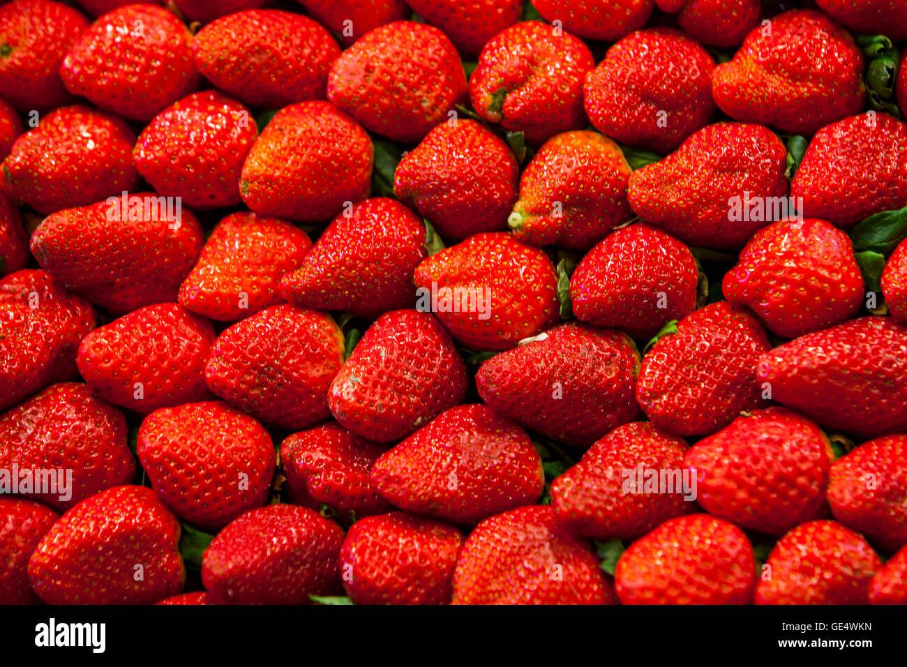 Strawberries, in La Boqueria market, Barcelona. Catalonia, Spain. - Stock Image