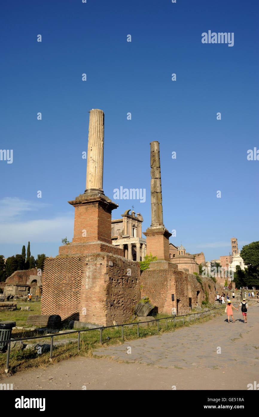 italy, rome, roman forum, honorary bases - Stock Image