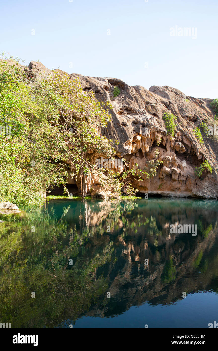 Oasis in Dhofar mountains, Oman. - Stock Image