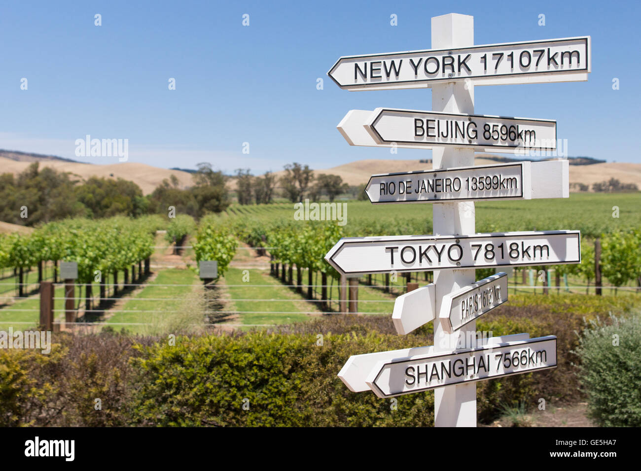Direction and distance to cities of the world from Australian vineyard in South Australia - Stock Image