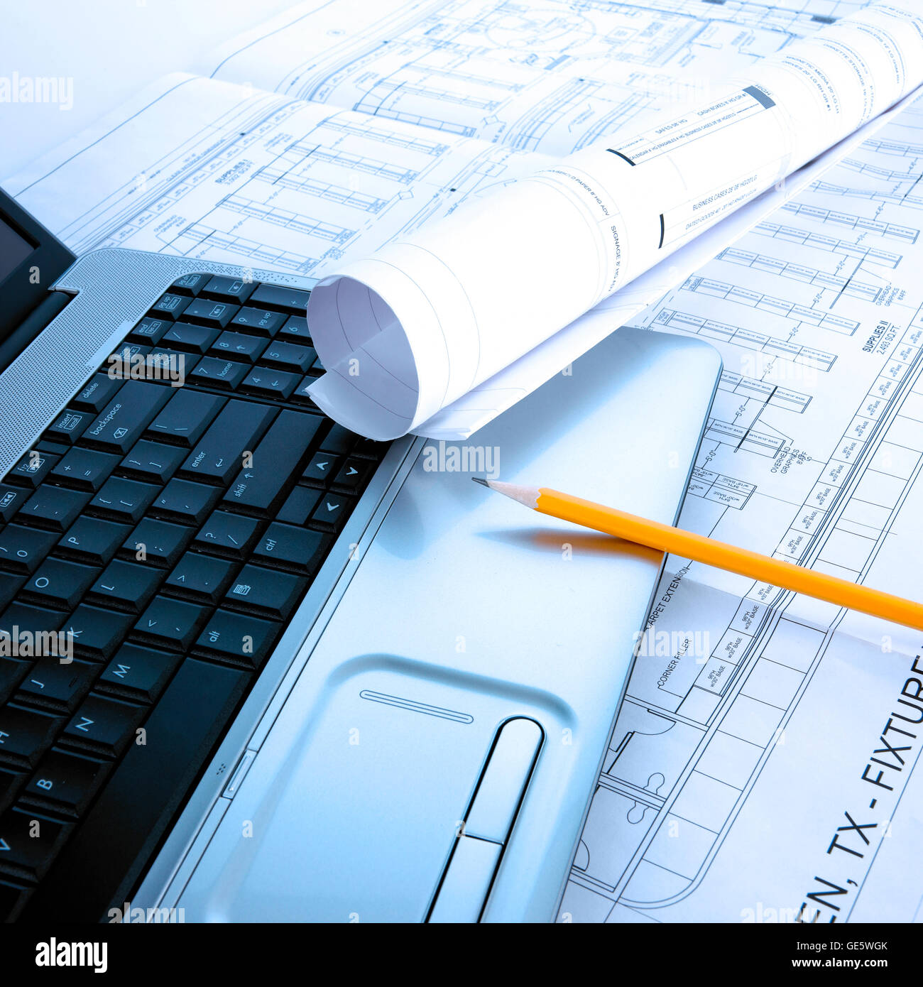 architect blueprint with room for copyspace - Stock Image