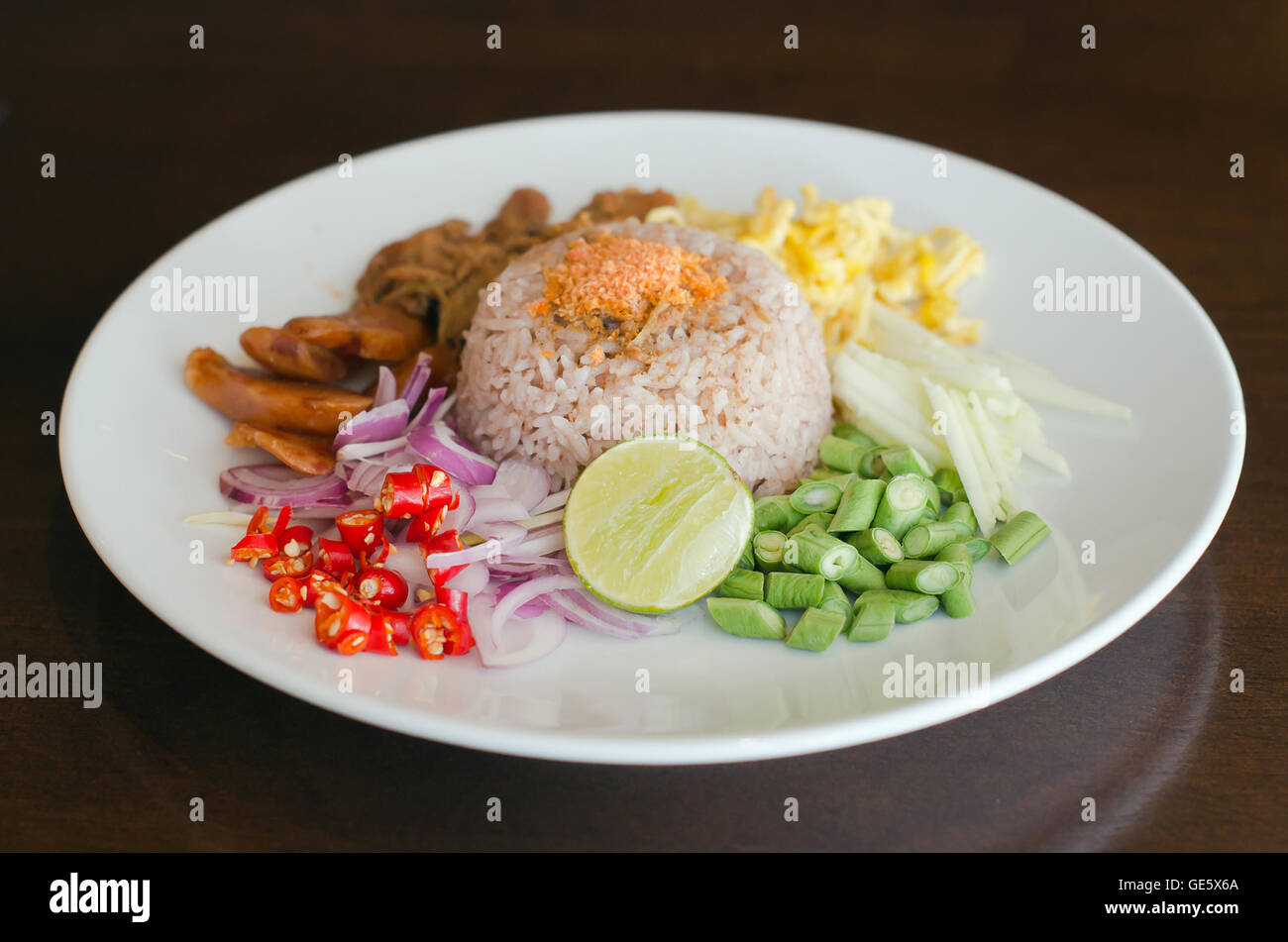 Rice Mixed with Shrimp paste on the dish – famous thai street food Stock Photo