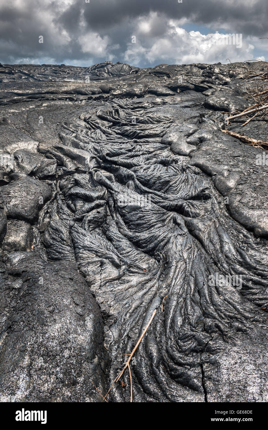 Amazing formation of magma on lava field in Hawaii Volcanoes National Park - Stock Image