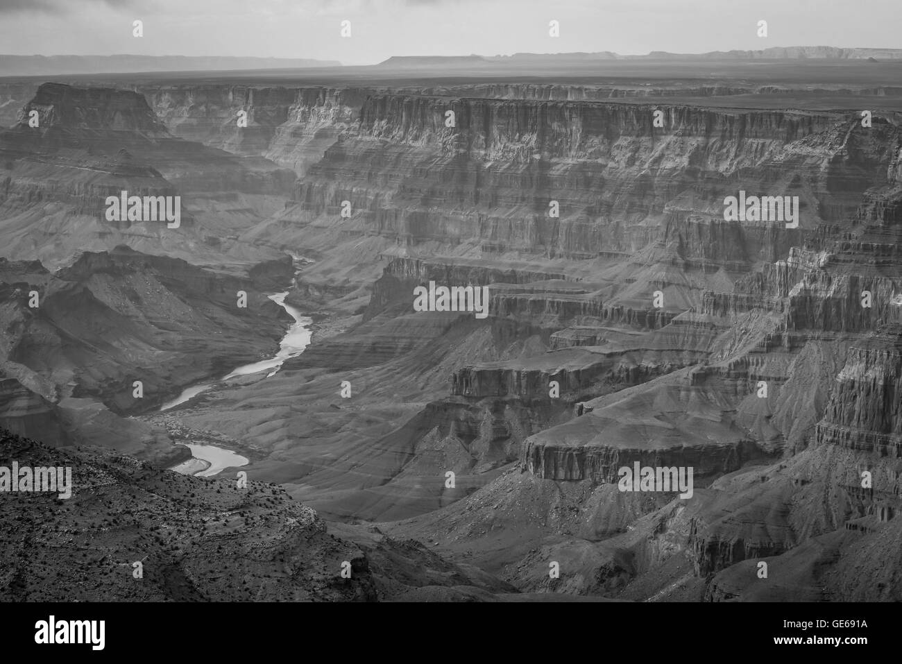 South Rim Grand Canyon National Park, World Class Landmark in the World Bland and White Stock Photo
