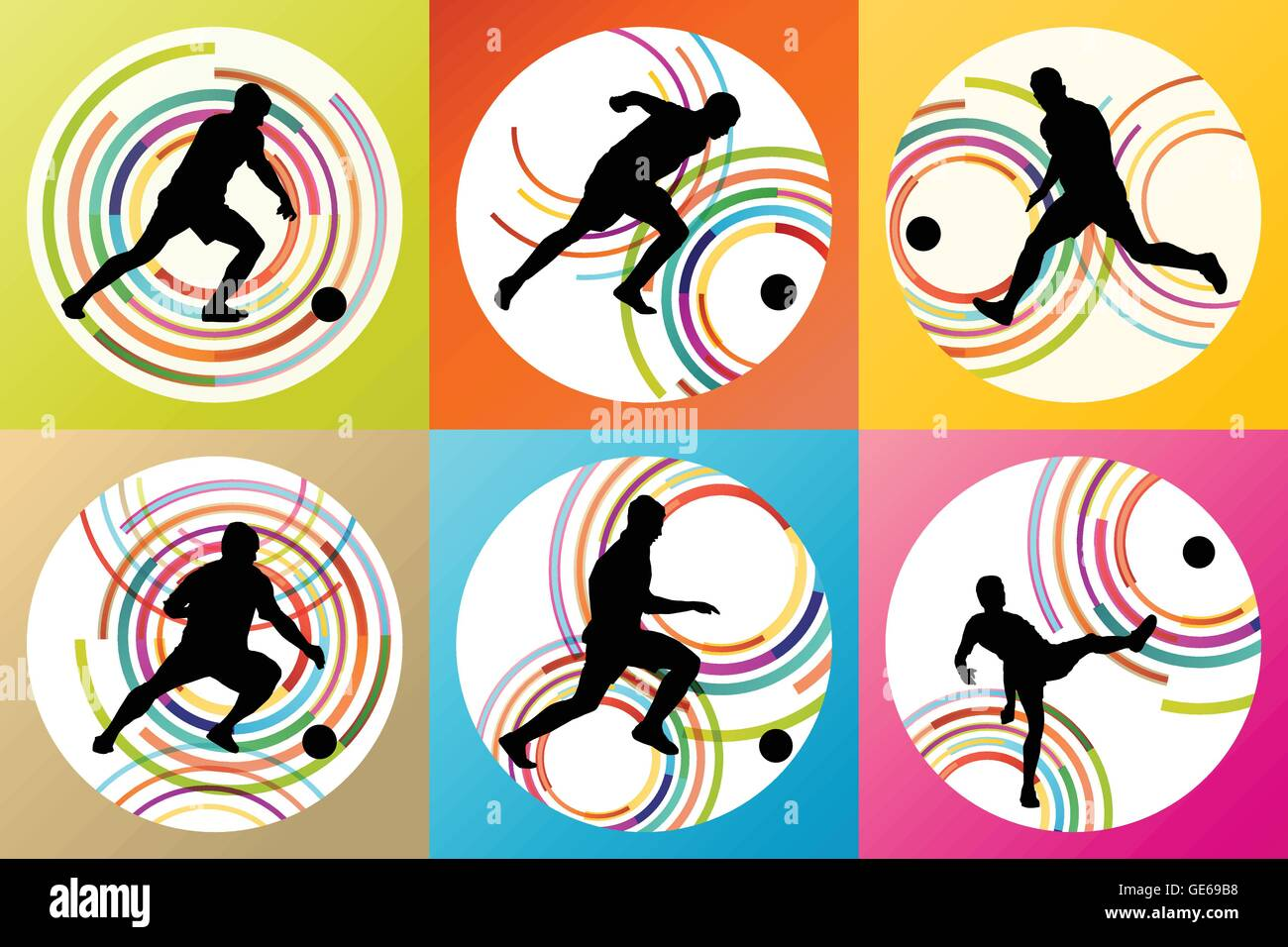 Soccer football player silhouette vector background set for poster - Stock Vector