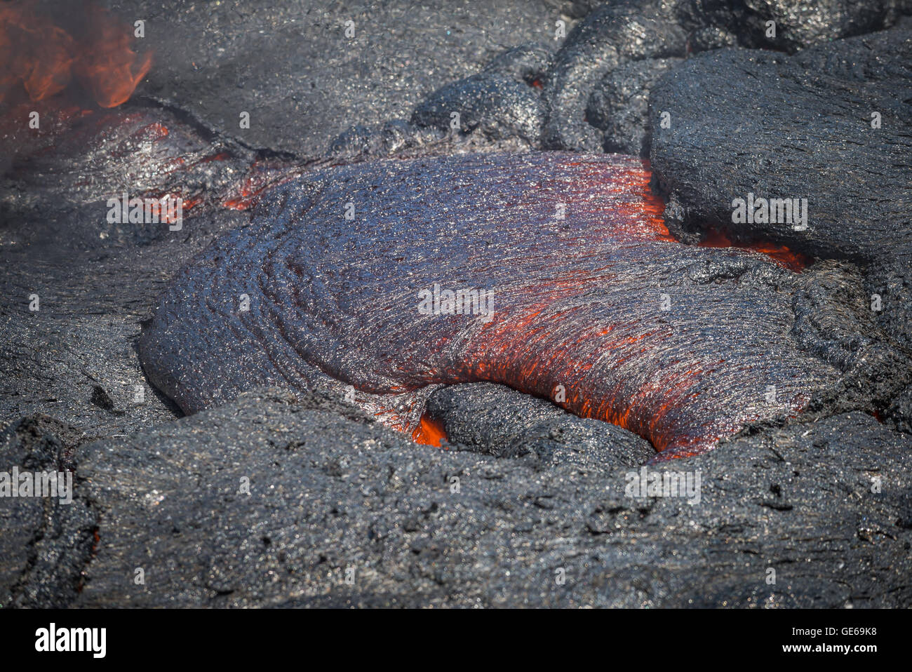 Lava flow in lava field, Hawaii volcanoes National Park - Stock Image