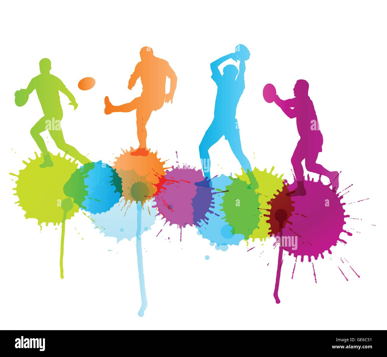 Rugby Player Active Sport Vector Background Concept With Color Splashes For Poster