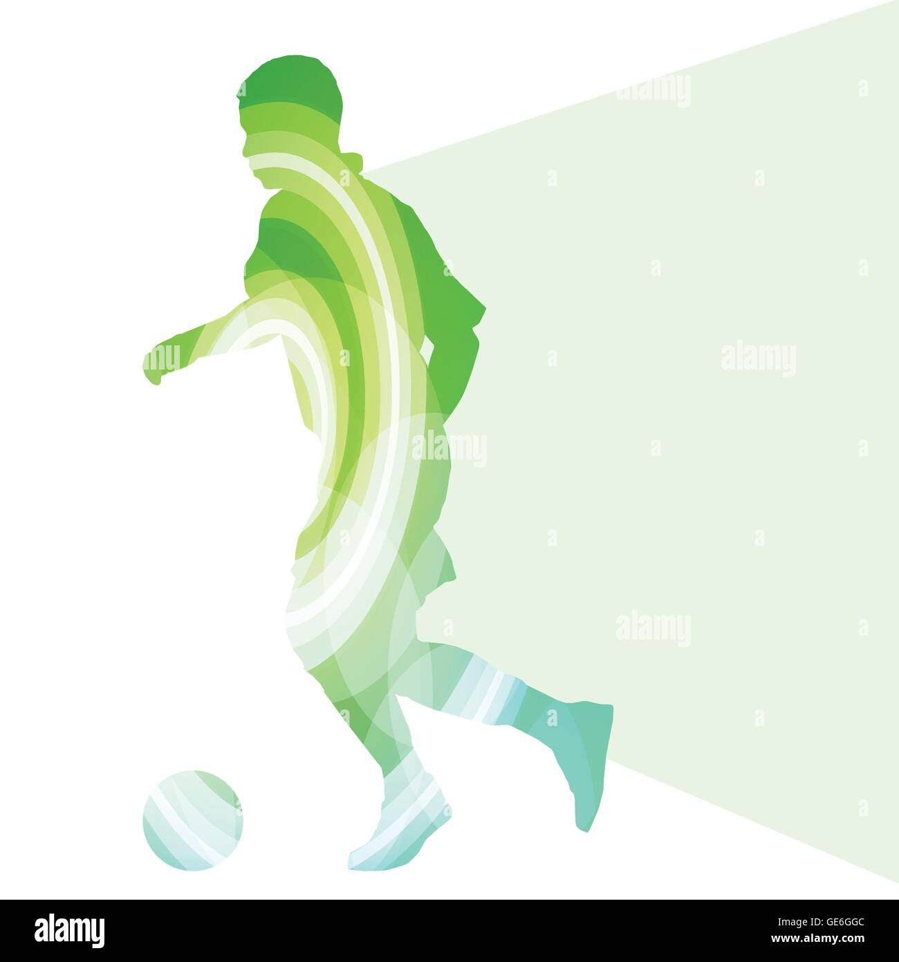 Soccer football player silhouette vector background colorful concept made of transparent curved shapes - Stock Vector
