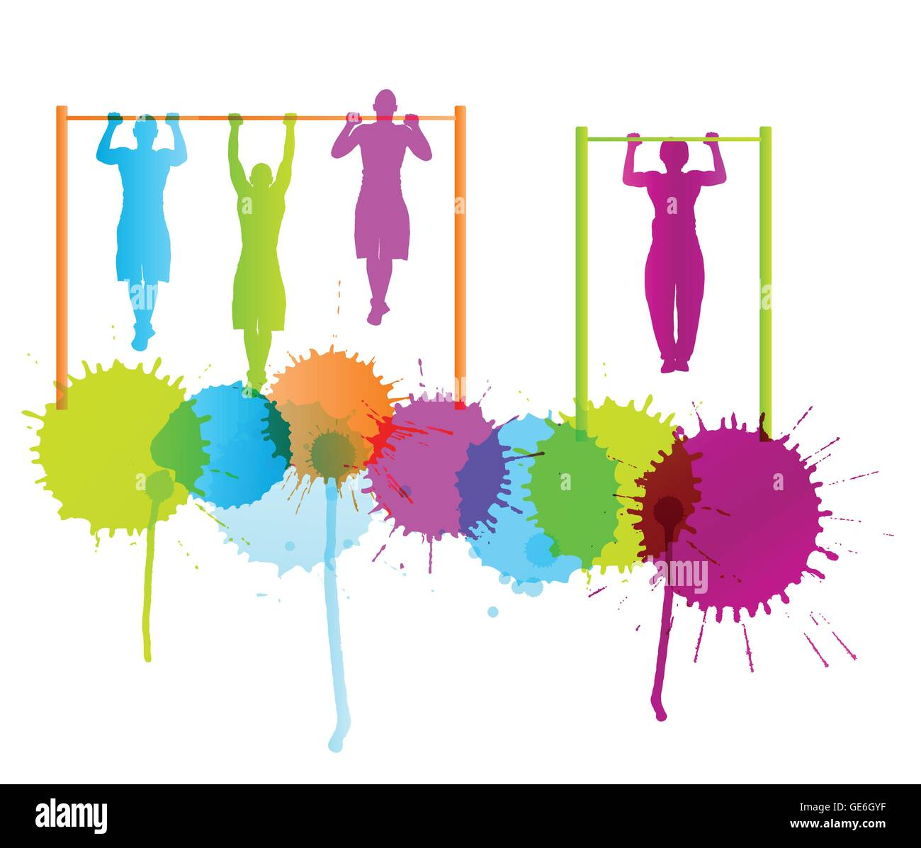 Muscular men doing pull ups bodybuilding fitness vector background concept with color splashes - Stock Vector