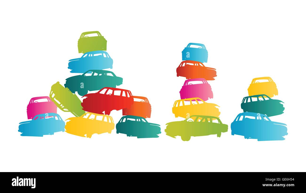 Iron scrap car junkyard vector background landscape concept for poster - Stock Image
