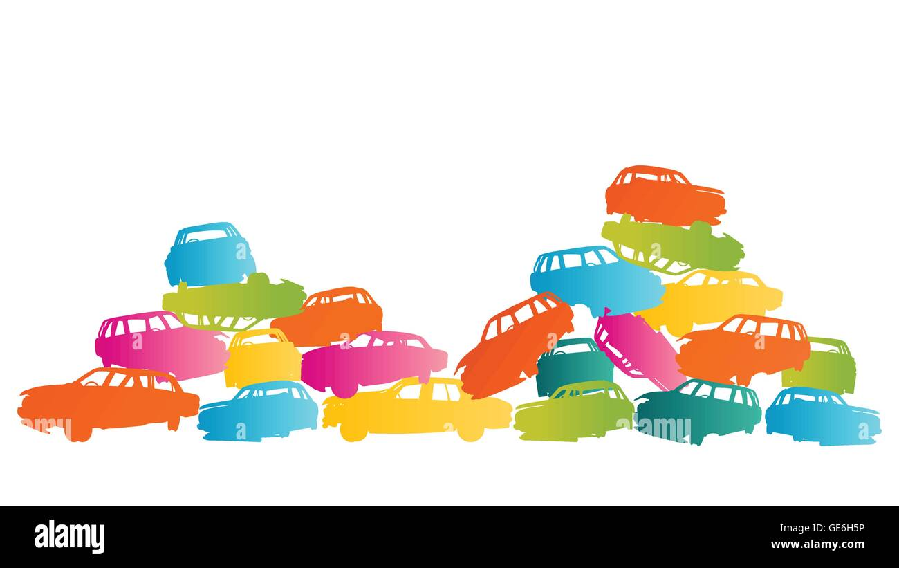 Iron scrap car junkyard vector background landscape concept for poster - Stock Vector