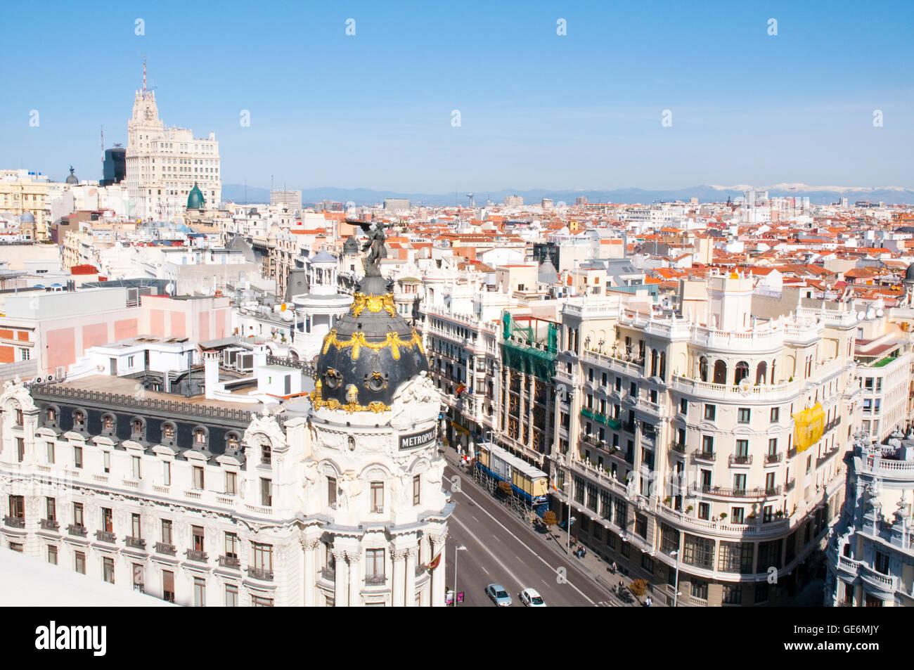 Gran Via street from the terrace of Circulo de Bellas Artes. Madrid, Spain. Stock Photo