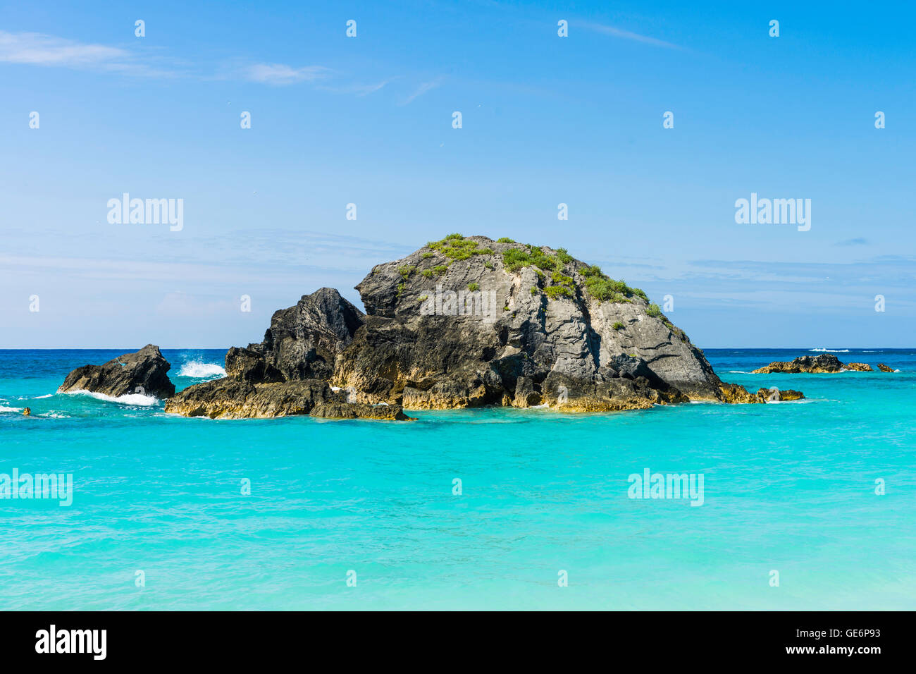Small island off the beach club at the Fairmont Southampton luxury resort at Southampton, Bermuda - Stock Image