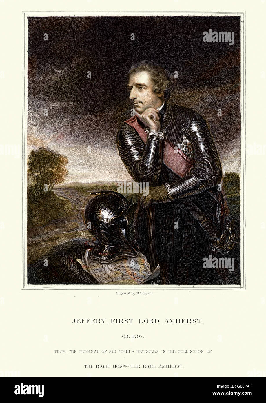 Portrait of Jeffery Amherst, 1st Baron Amherst served as an officer in the British Army and as Commander-in-Chief - Stock Image
