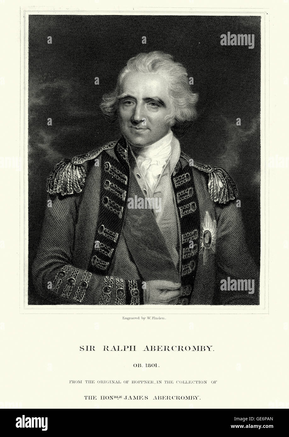 Portrait of Ralph Abercromby a Scottish soldier and politician. He rose to the rank of lieutenant-general in the - Stock Image