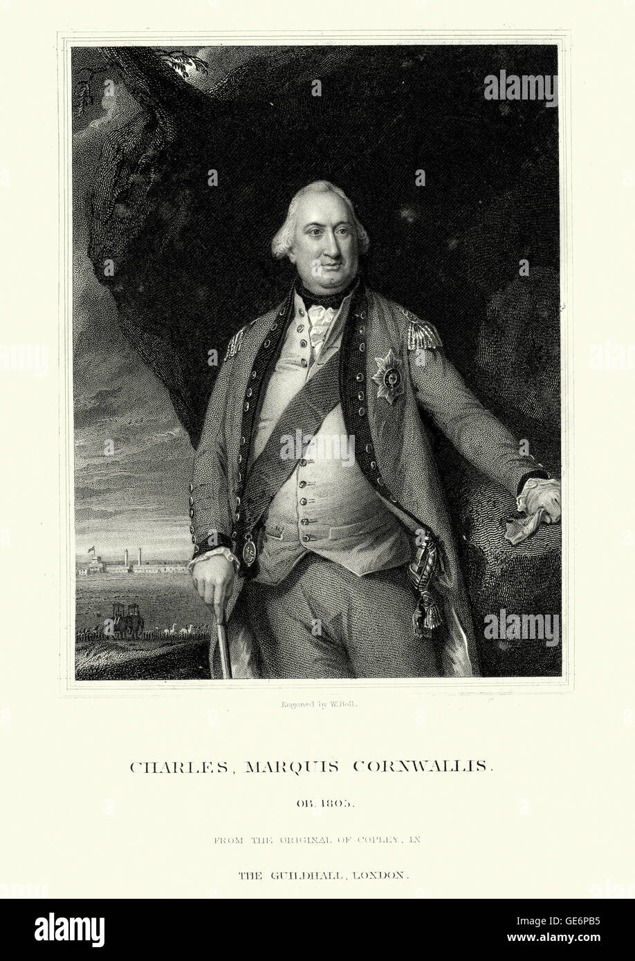 Portrait of Charles Cornwallis, 1st Marquess Cornwallis a British Army officer and colonial administrator. In the - Stock Image