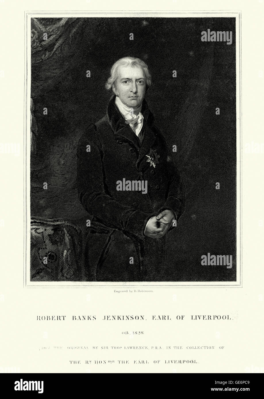 Portrait of Robert Jenkinson, 2nd Earl of Liverpool an English politician the youngest and longest-serving Prime - Stock Image