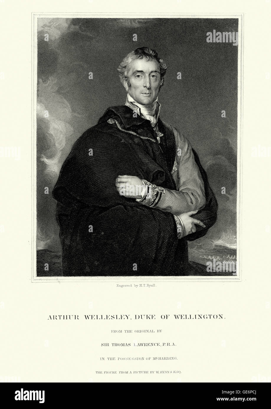 Portrait of Arthur Wellesley, 1st Duke of Wellington an Anglo-Irish soldier and statesman, and one of the leading - Stock Image