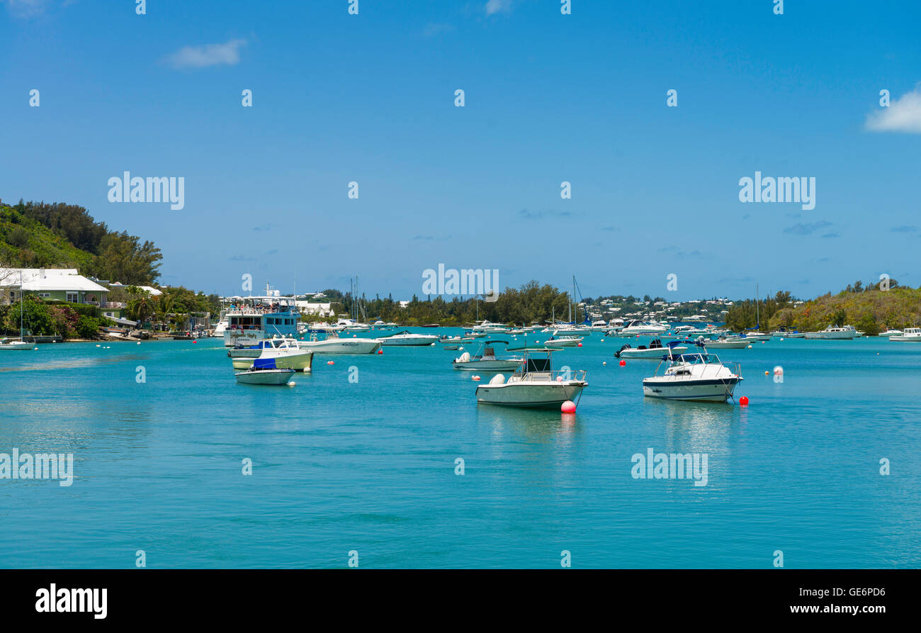 View of Jew's Bay from the dock at Waterlot  Inn at the Fairmont Southampton Resort, Southampton Parish, Bermuda - Stock Image