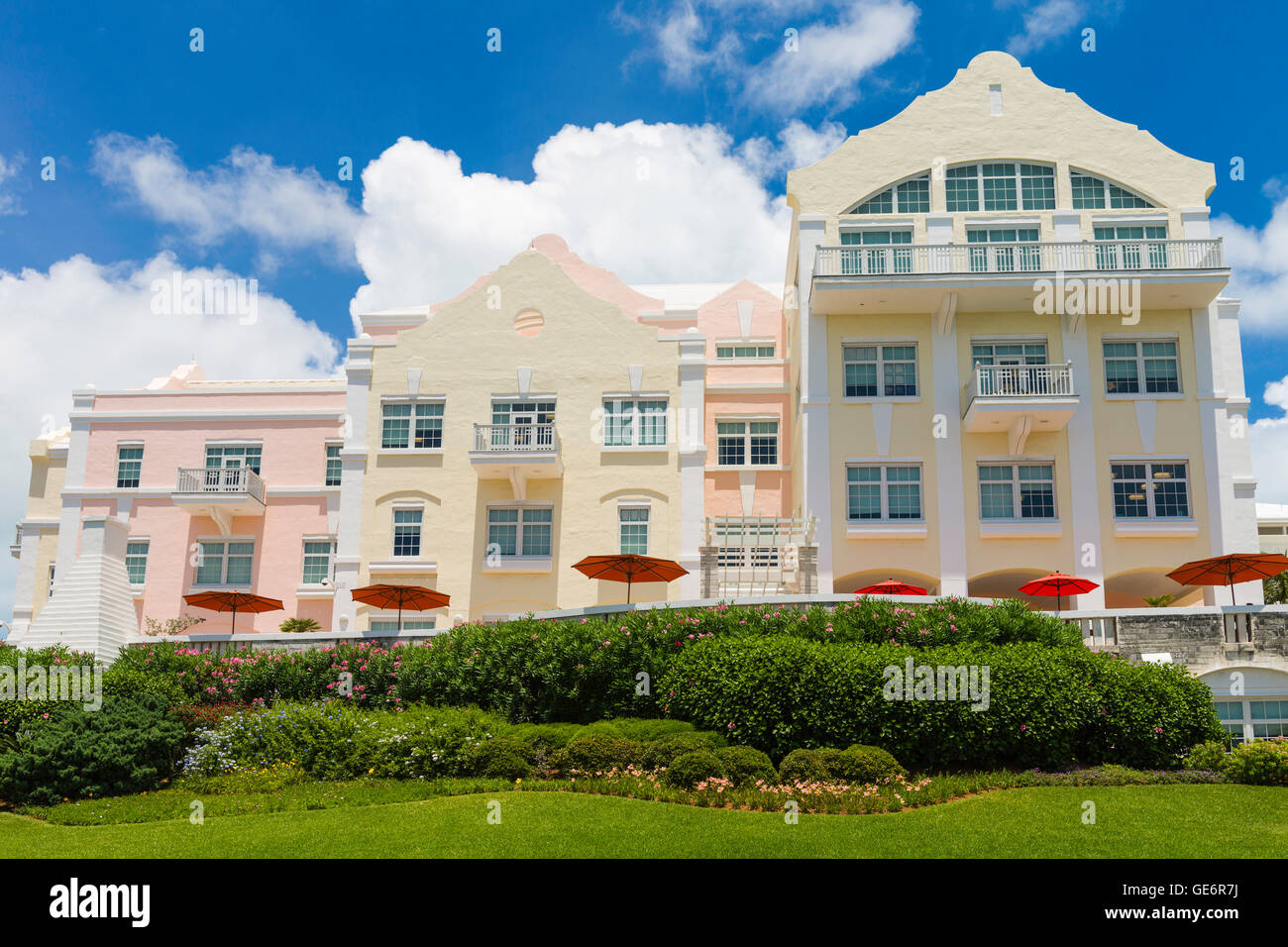 Modern architecture of the ACE Insurance Building in Hamilton, Bermuda. - Stock Image