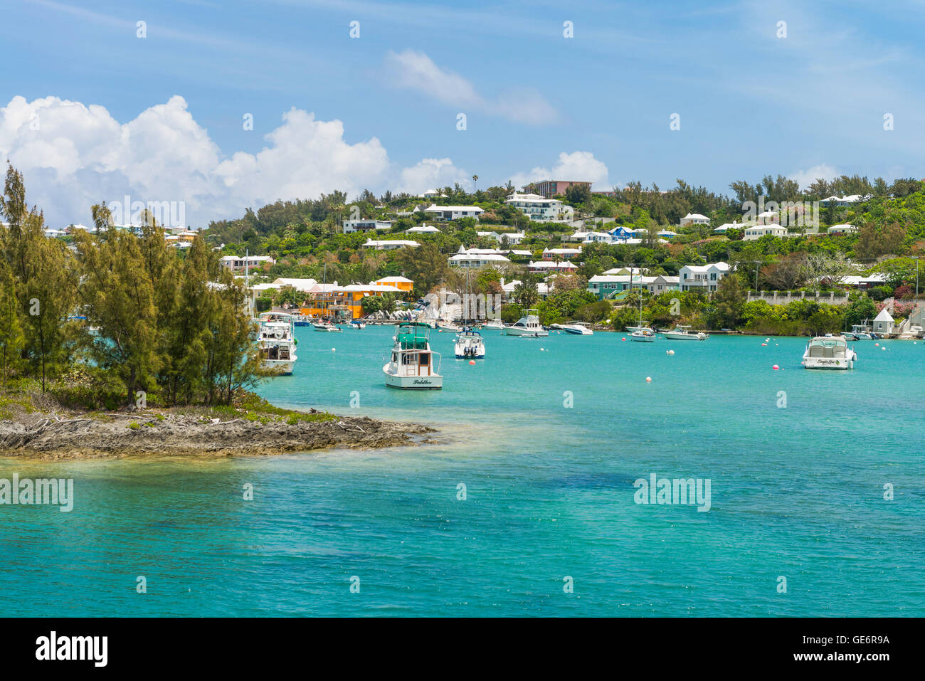 Entrance to Jew's Bay, Bermuda, with the Fairmont Southampton luxury resort visible at the top of the hill. Stock Photo
