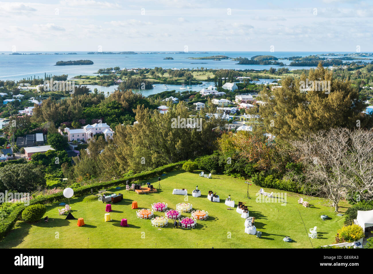 Lawn set for a garden party at the The Fairmont Southampton luxury resort at Southampton, Bermuda. - Stock Image