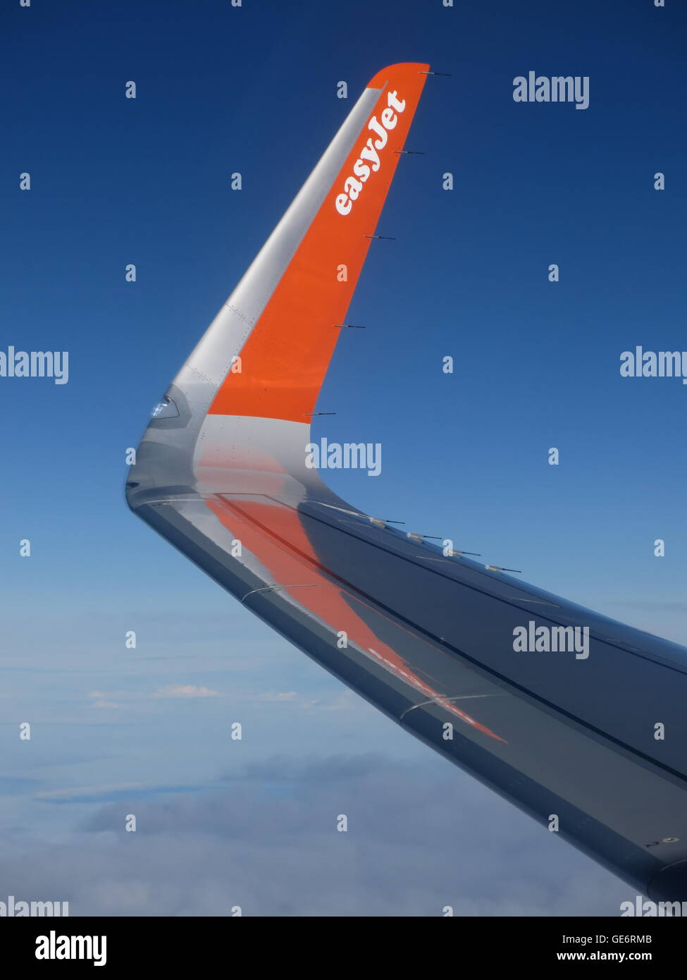 Easyjet logo on the winglet of an Easyjet Airbus A320 family aircraft - Stock Image