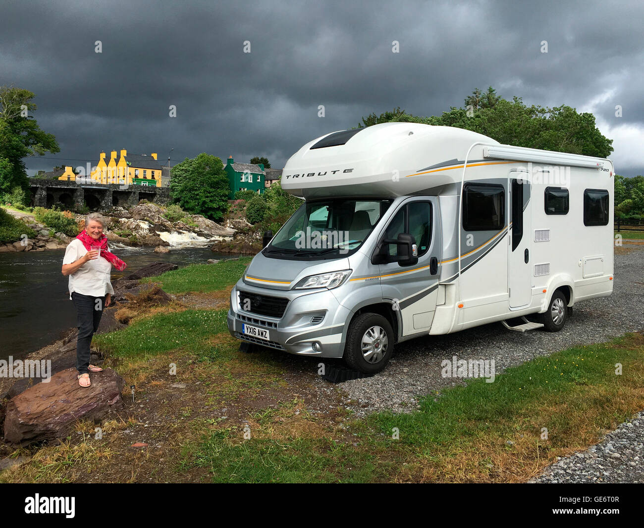 Motorhome Wild Camping near a river in the village of Sneem in the Republic of Ireland - Stock Image