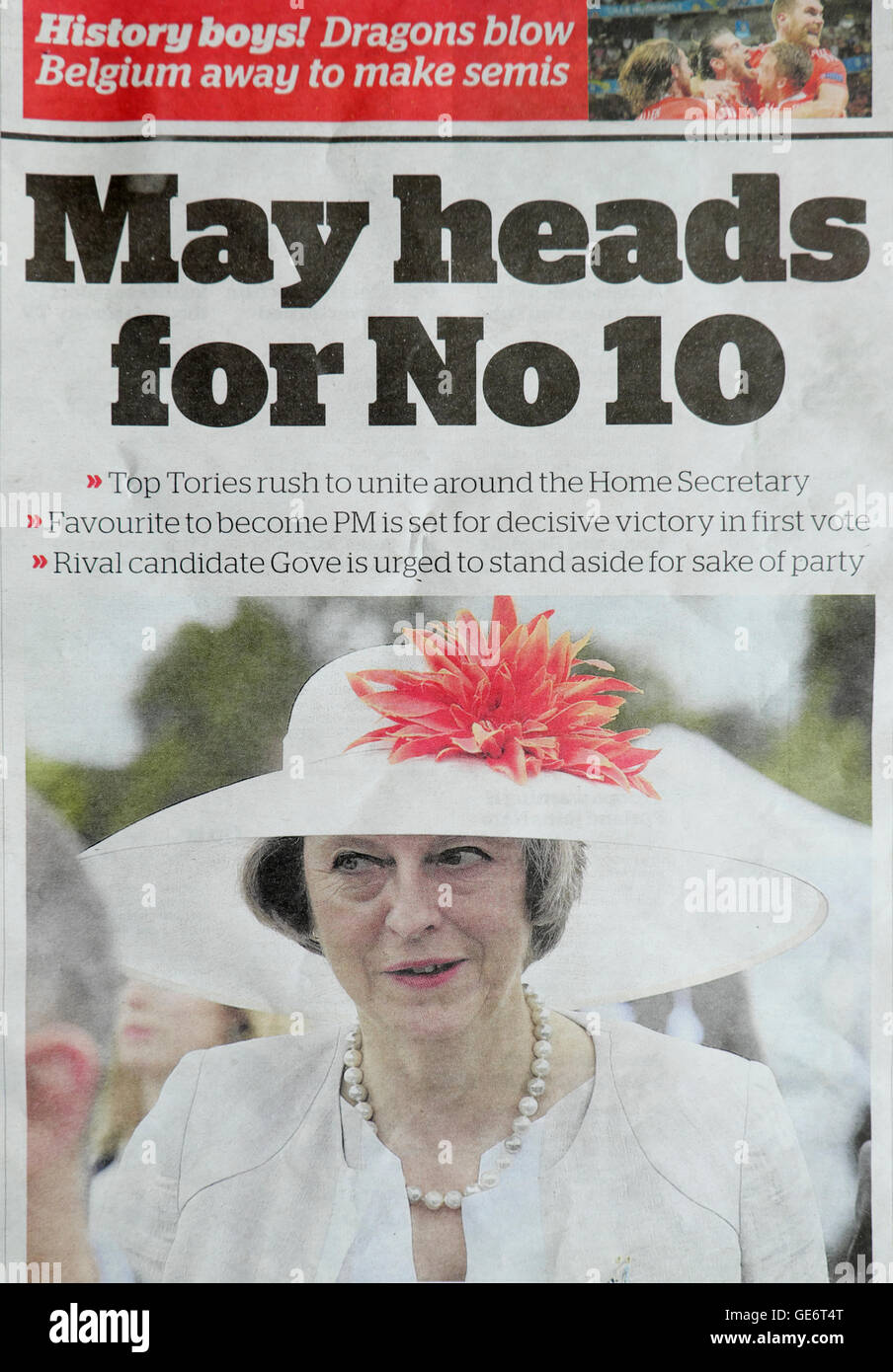 'May heads for No 10'   newspaper headline in London UK - Stock Image
