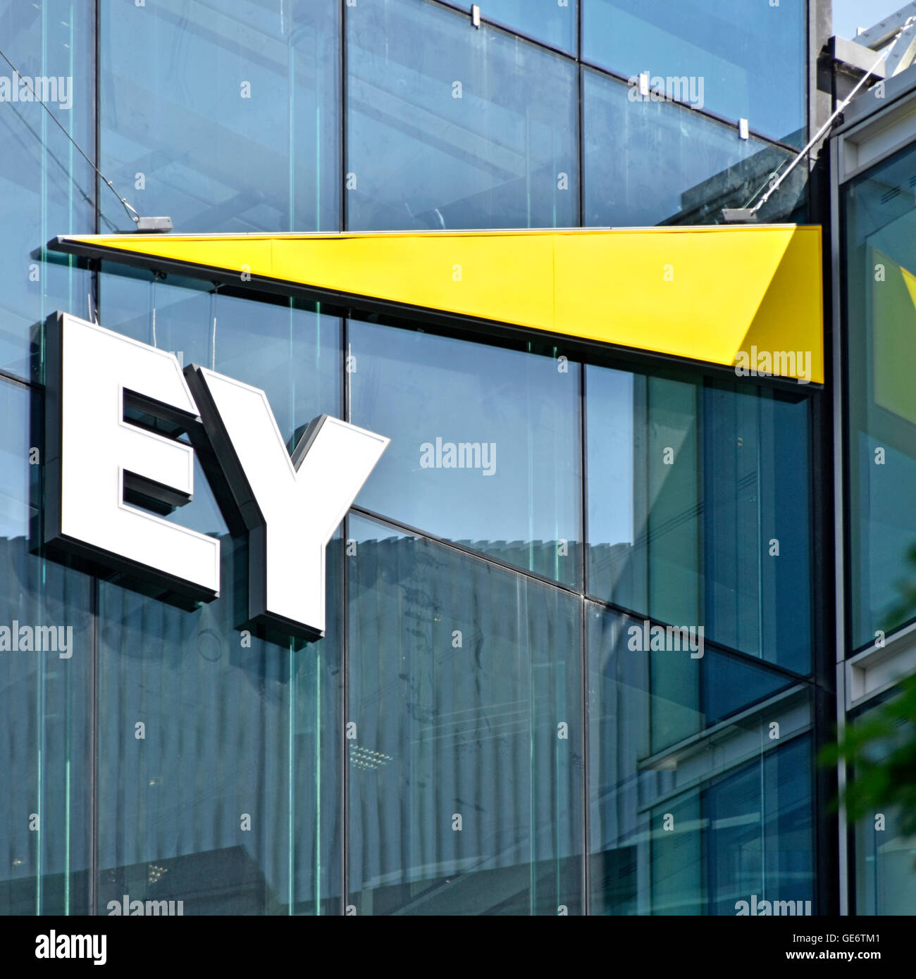 London office of Ernst & Young logo & sign for multinational professional services firm in Southwark England - Stock Image