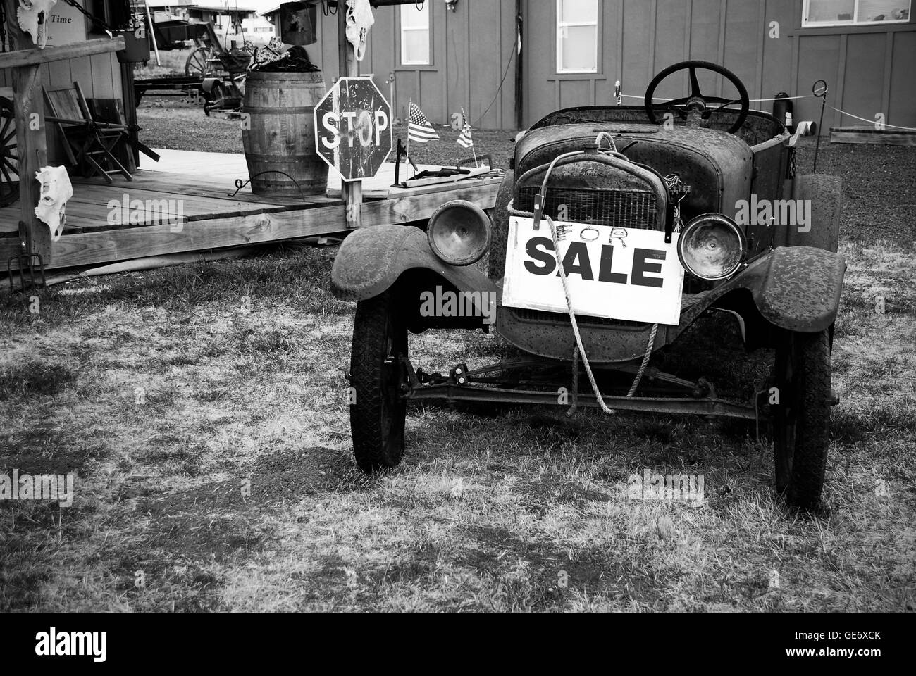Old Rusty Car Black and White Stock Photos & Images - Alamy