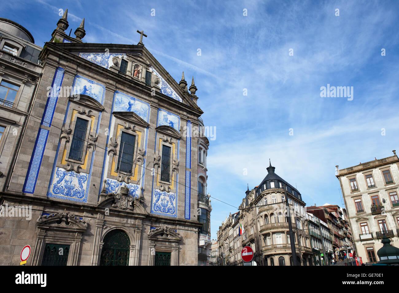 Portugal, Porto, Saint Anthony Church (Igreja de Santo Antonio) in city centre, Baroque facade - Stock Image