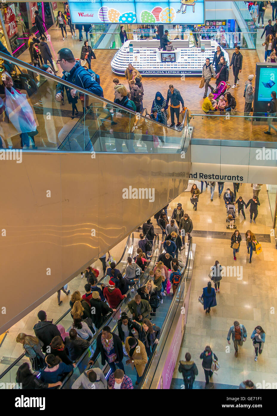 Busy Escalator Westfield Shopping Centre Stratford London UK Stock Photo