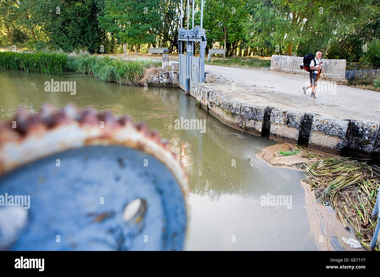Canal de Castilla, near Fromista. Palencia province.Spain. Camino de Santiago - Stock Image