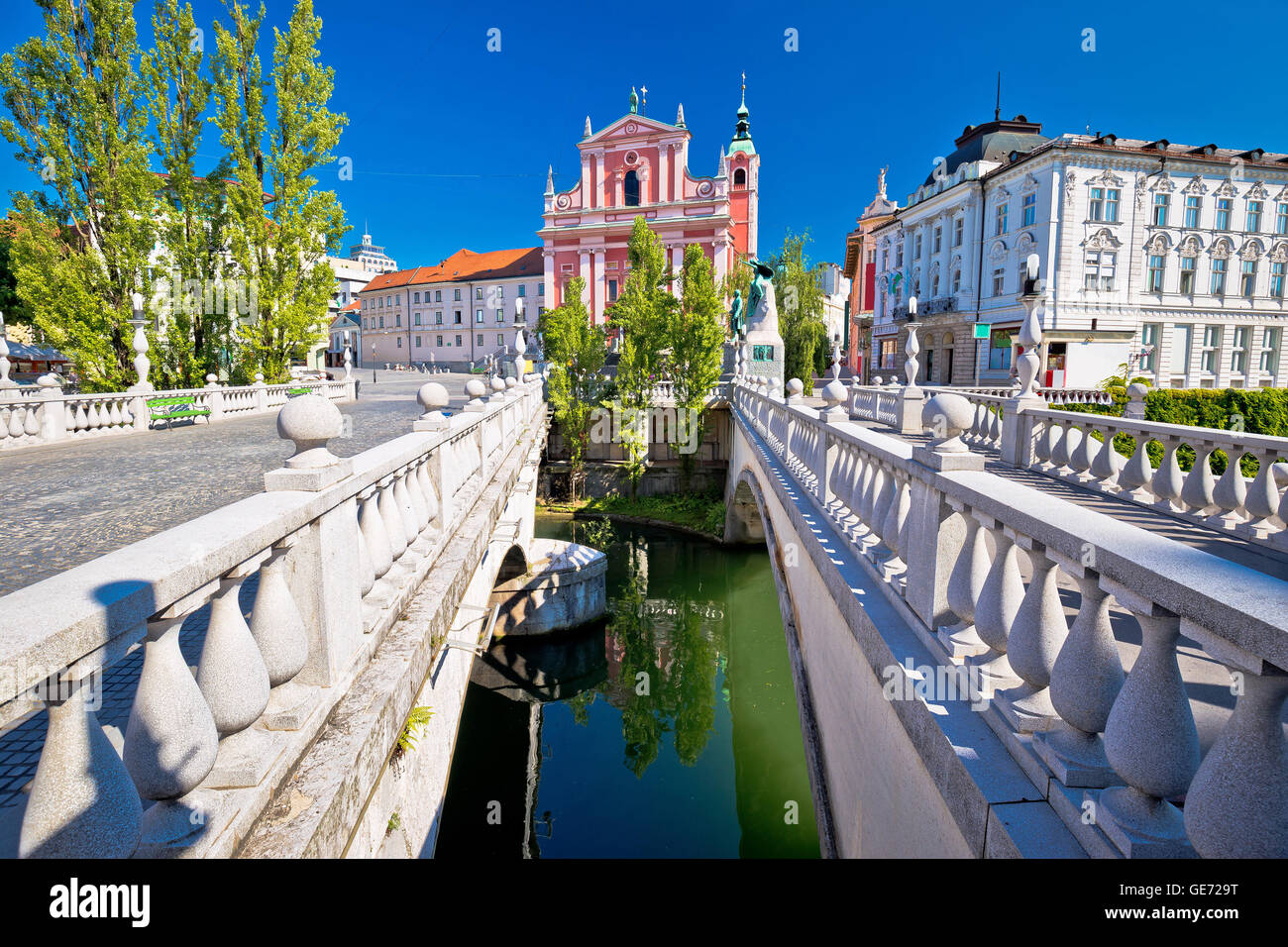 Tromostovje square and bridges of Ljubljana, capital of Slovenia - Stock Image
