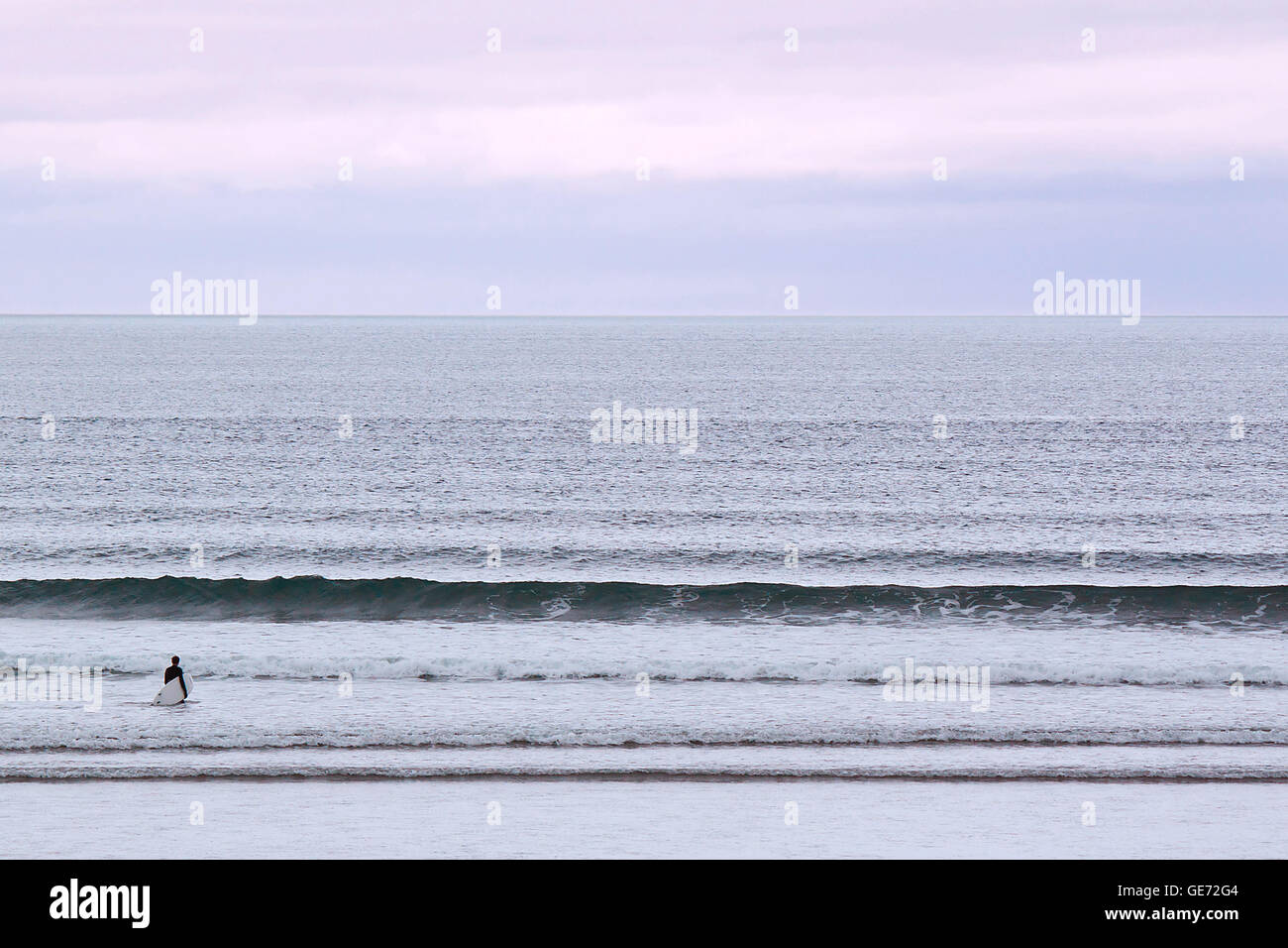 Lone Surfer on the Atlantic Ocean, Sligo, West Coast, Ireland - Stock Image