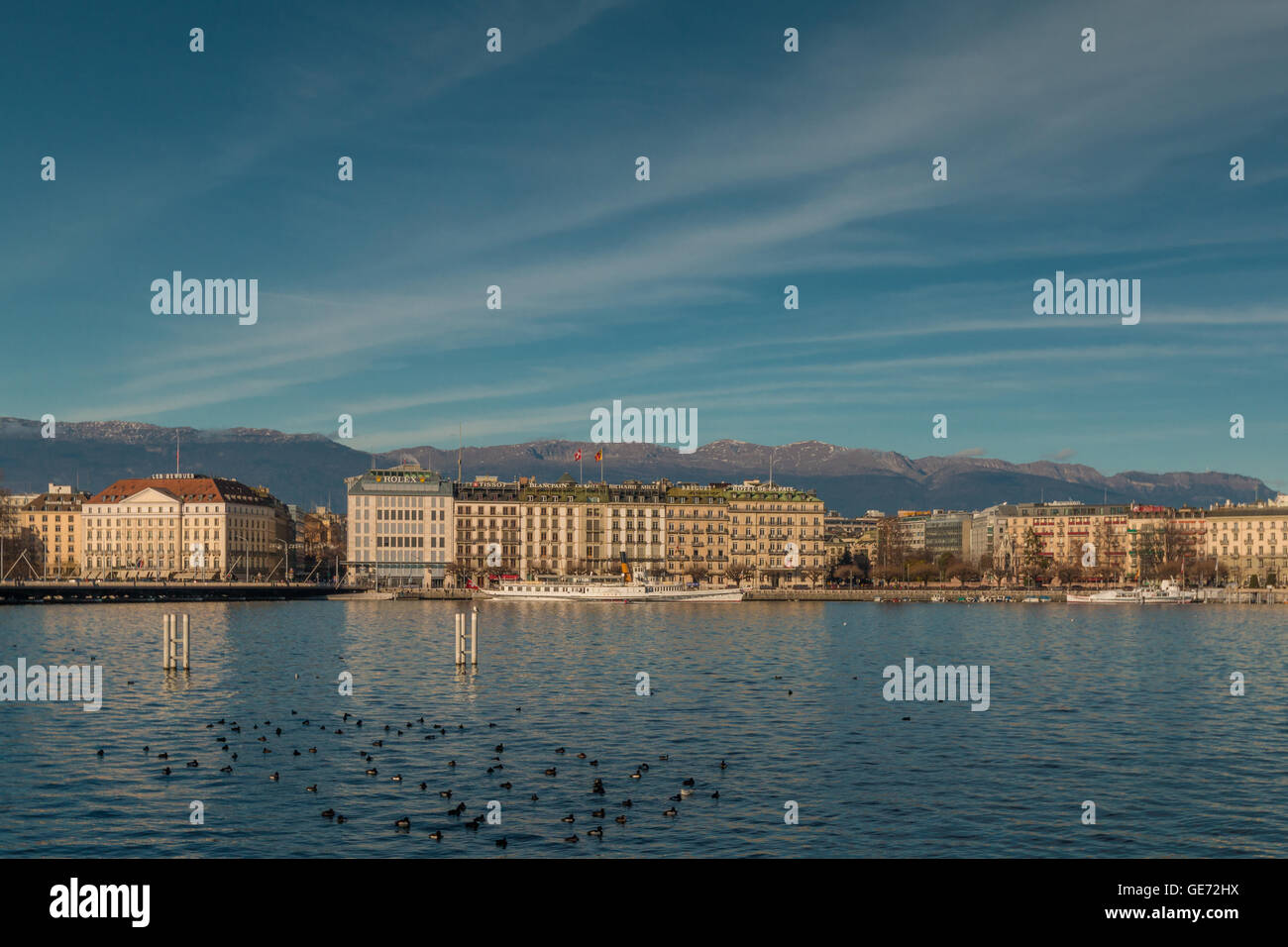 Geneva lake and city - Stock Image