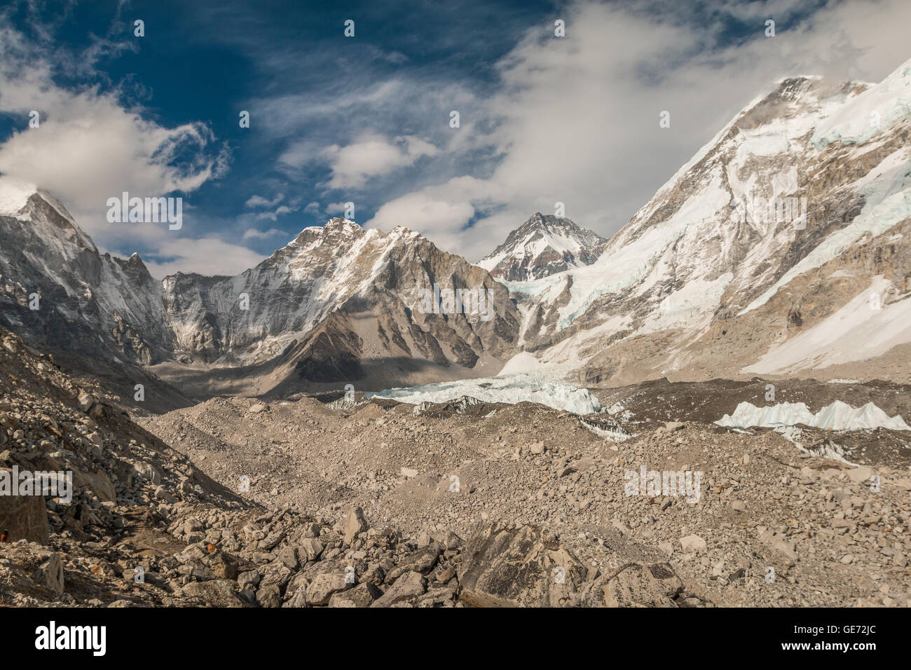 Everest base camp trek in Himalayas Nepal - Stock Image