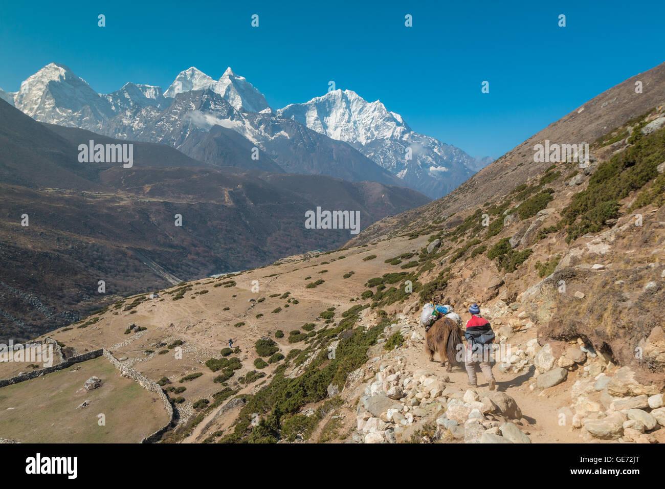 Everest Base camp hiking in Nepal - Stock Image