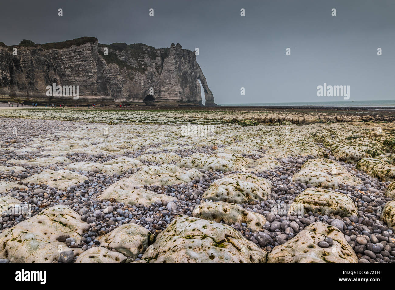 View of Etretat beach in France - Stock Image