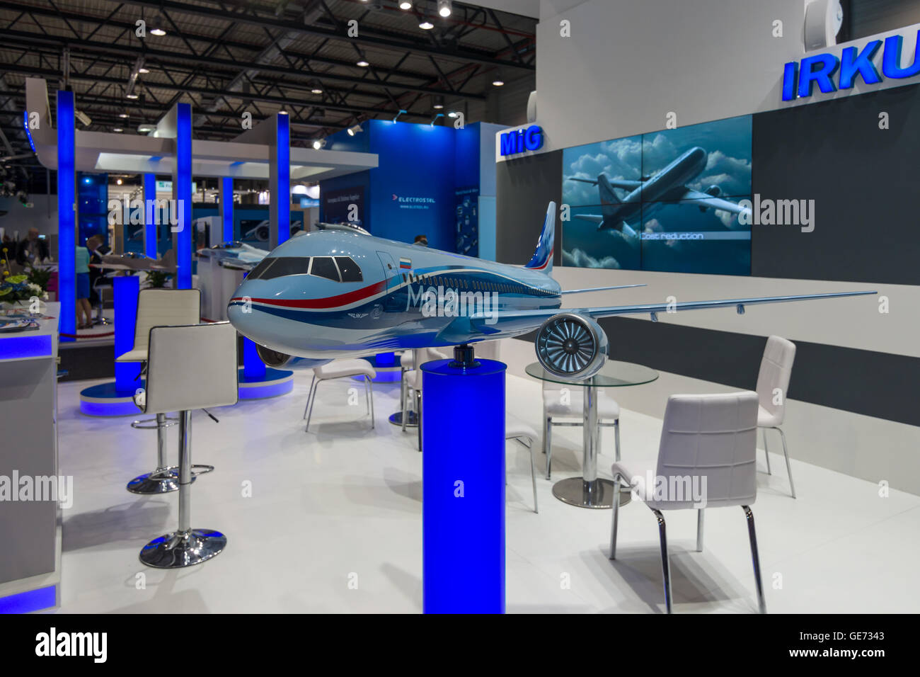 The stand of Unated Aircraft Corporation (Russia). Model of Russian jet airliner Irkut MC-21. - Stock Image