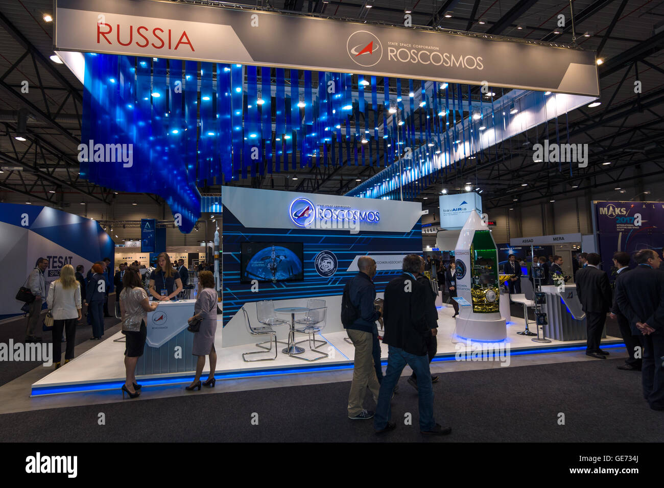 BERLIN, GERMANY - JUNE 01, 2016: The stand of State Space Corporation - Roscosmos (Russia). Exhibition ILA Berlin - Stock Image