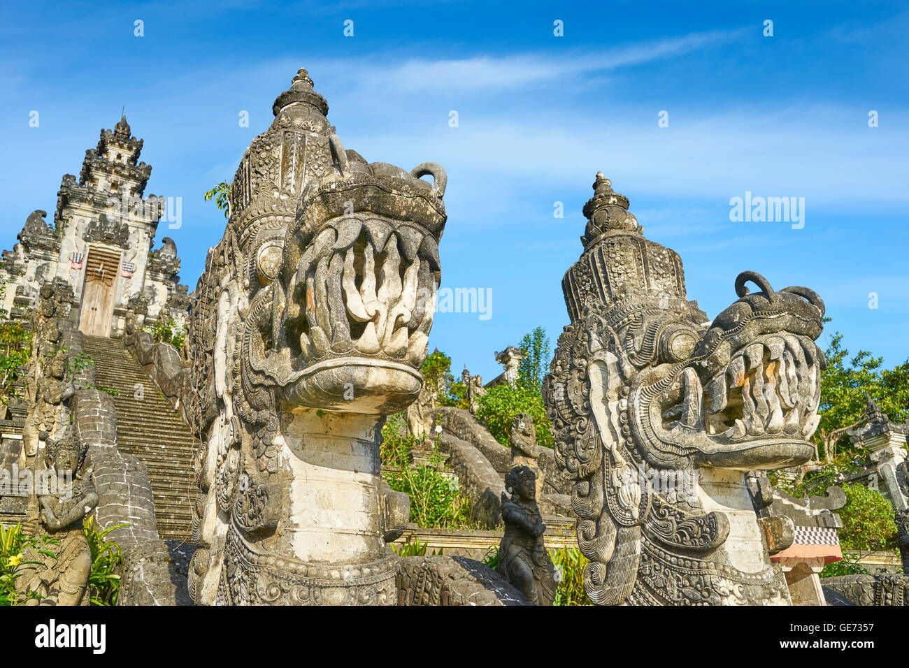 Bali, Indonesia - Faces of dragons in front of Pura Penataran Lempuyang Temple - Stock Image