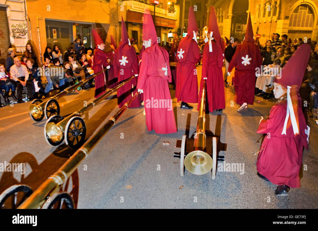 `Bocinas´.Easter Monday procession.(Cofradia del Santísimo Cristo del Perdón).Holy Week. Murcia. Spain Stock Photo