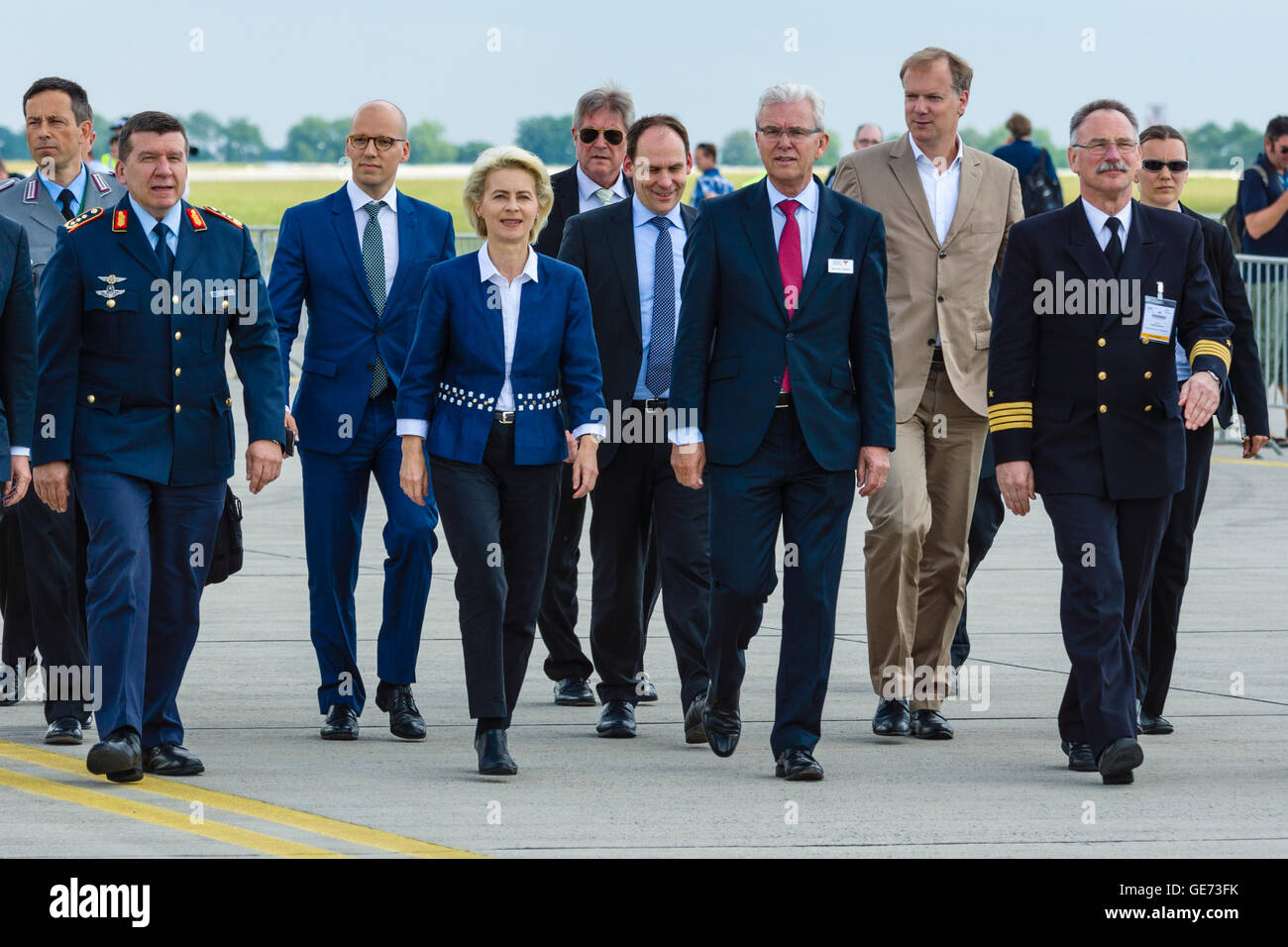 Arrival of the Federal Minister of Defence of Germany, Ursula von der Leyen at the exhibition ILA Berlin Air Show - Stock Image
