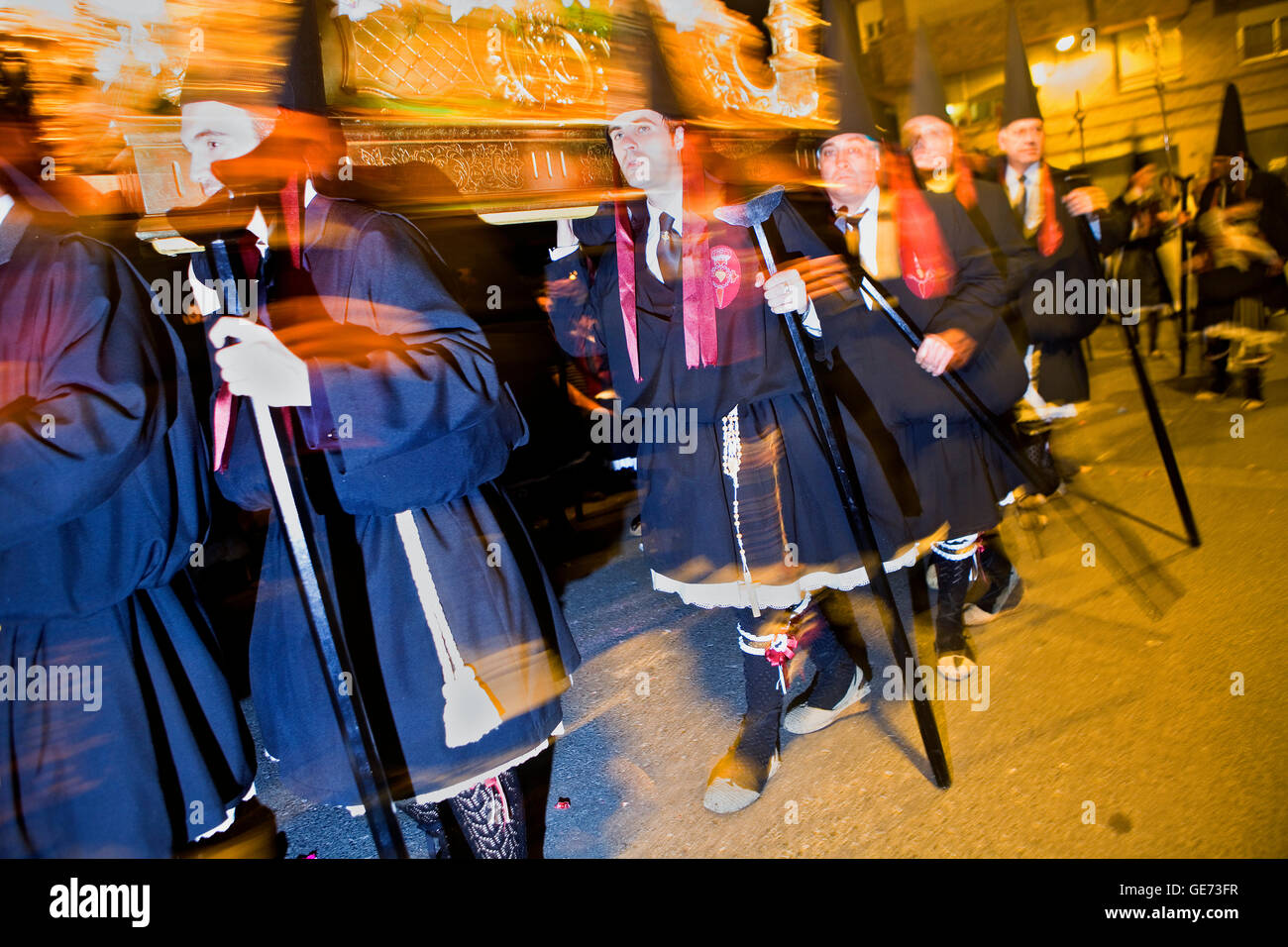 Easter Monday procession.(Cofradia del Santísimo Cristo del Perdón).Holy Week. Murcia. Spain Stock Photo